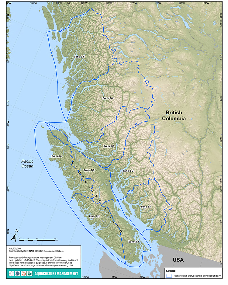 Map Of Fish Health Surveillance Zones In Bc