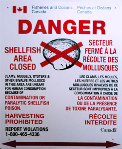 Danger Sign - Shellfish Area CLosed