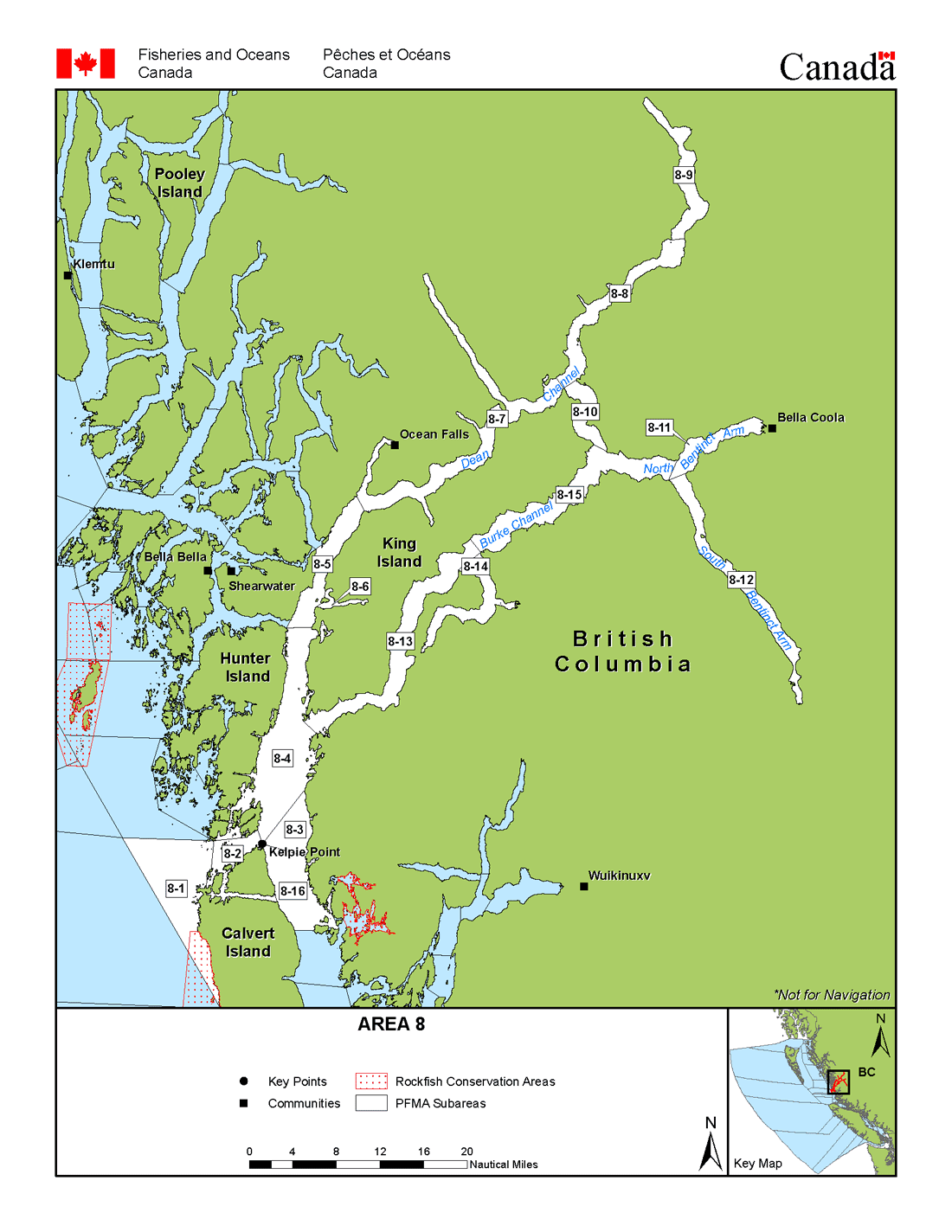 Bella Coola Map Areas 8 and 108 (Fitz Hugh Sound, Bella Coola)   BC Tidal Waters