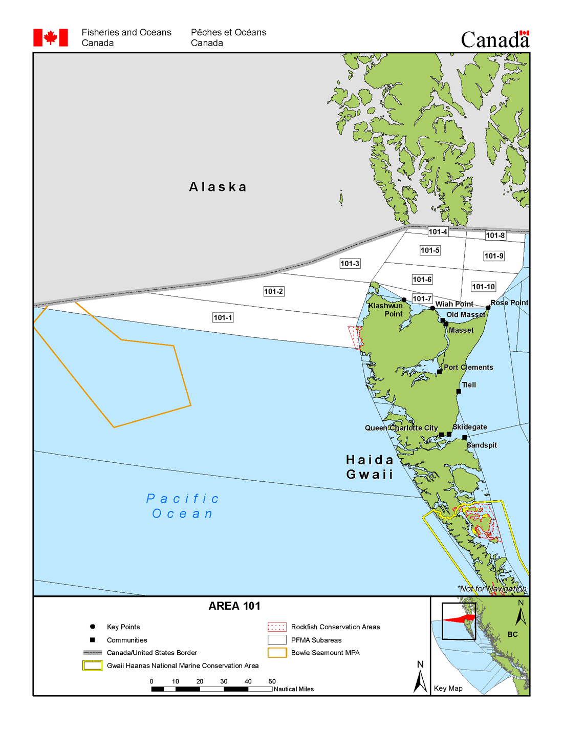 Fisheries Management Area 101 Open Water North Of Haida Gwaii Pacific Region Fisheries And Oceans Canada