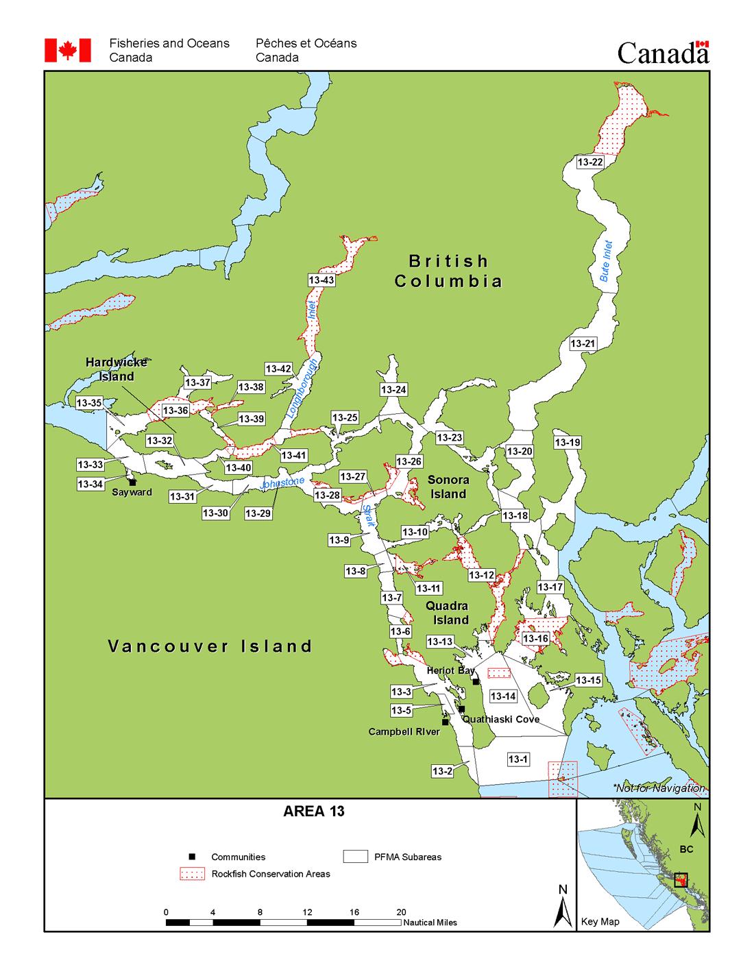 Area 13 Campbell River and Cortes Sonora Quadra Islands BC
