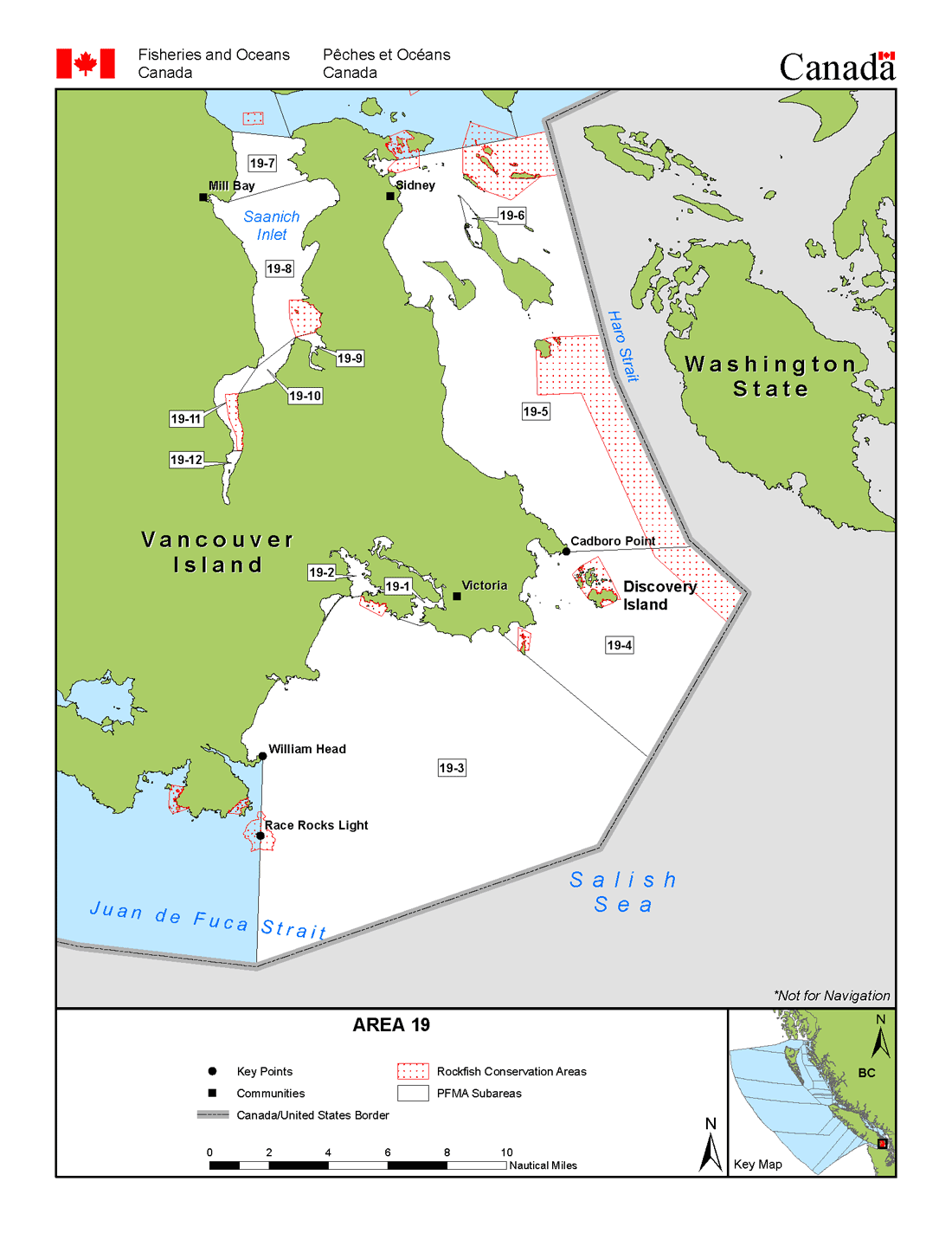 Map Sidney Bc Canada Area 19 (Victoria, Sidney)   BC Tidal Waters Sport Fishing Guide