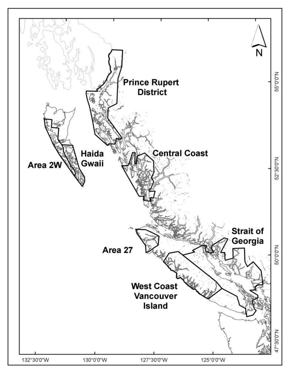 Map of Pacific Herring major and minor stock and fishing areas